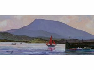 Downing Donegal Red Sail Boat